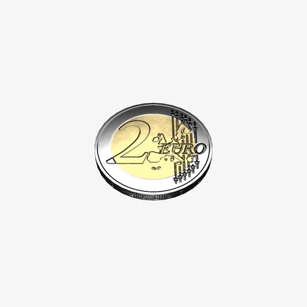 3D euro coin model