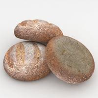 millet bread 3D model