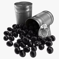 3D model realistic canned black olives