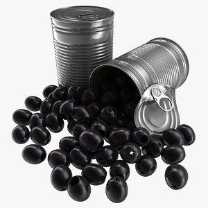 3D model realistic canned black olives