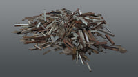 3D pile wood debris ruin model