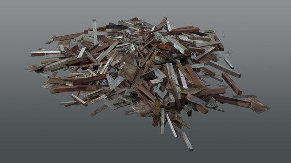 3D pile wood debris ruin model