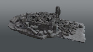 demolished building debris 3D model