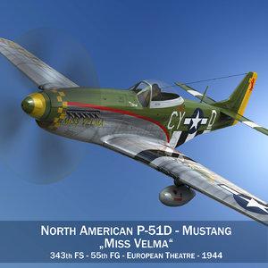 3D north american p-51d -