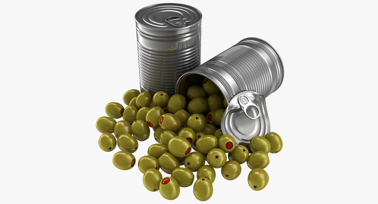 realistic canned olives red 3D model