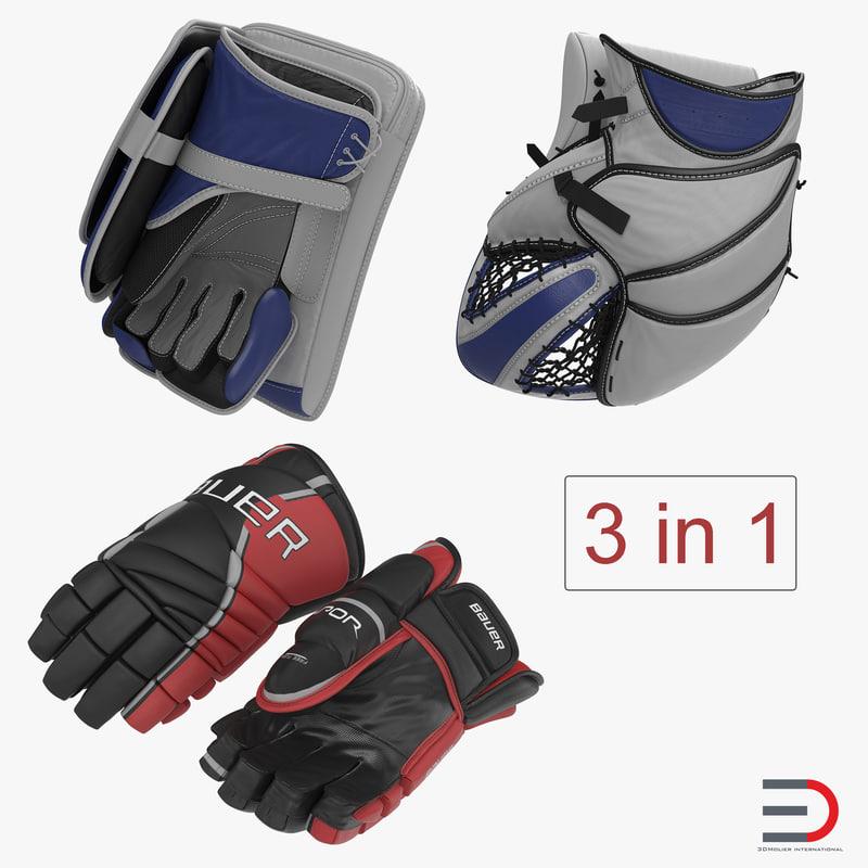 3D hockey gloves model
