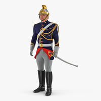 3D 1872 french cuirassier standing model
