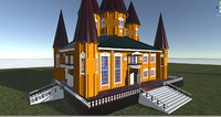 Russian wooden house in Siberian village-1. Terem. ( for 3D games )