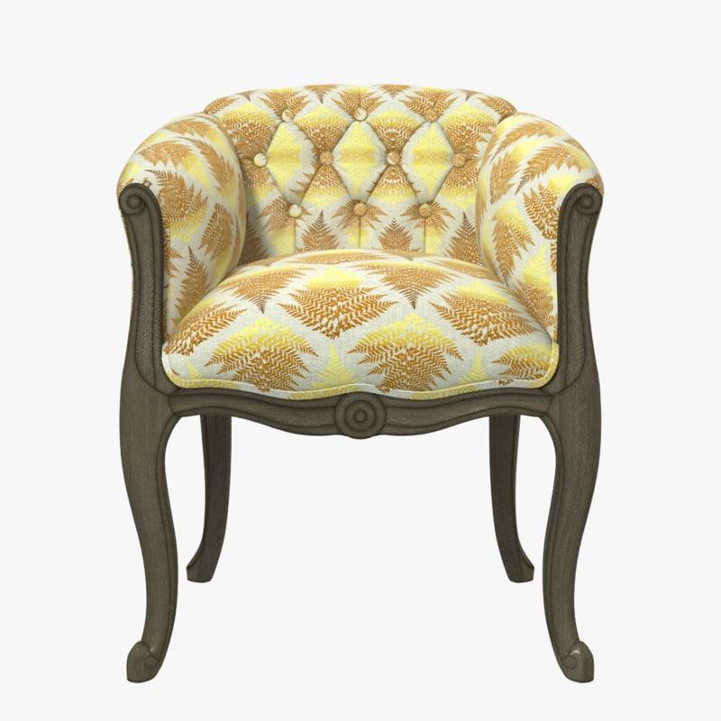 3D exquisite armchair chair wood