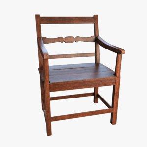 wood armchair chair 3D