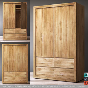 3D reclaimed russian oak armoire
