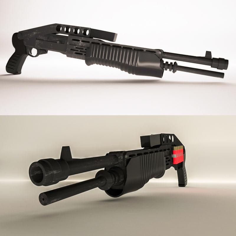3D model gun shotgun