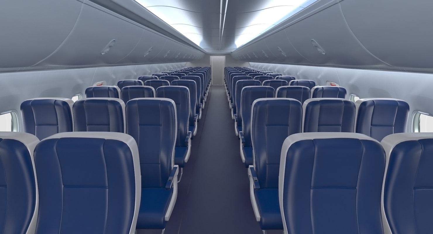 economy class passenger cabin 3D model