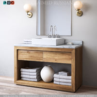 RH RECLAIMED RUSSIAN OAK SINGLE EXTRA-WIDE WASHSTAND
