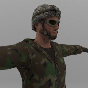 3D soldier dressed