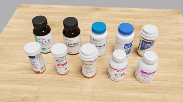 medical bottles 3D