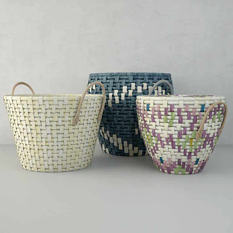 plaited baskets zara home 3D model