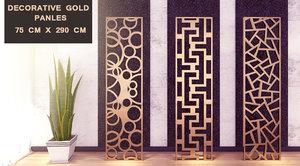 3 decorative gold panels 3D model