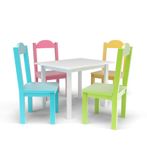 kids table chairs set 3D model