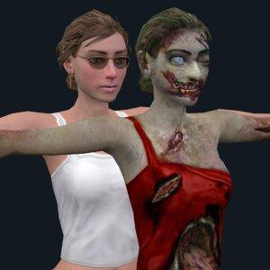 zombie girl 3D model