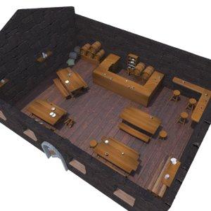 3D medieval tavern set