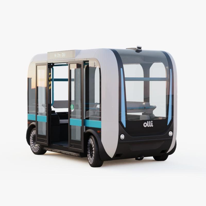 3D self-driving bus rig olli model