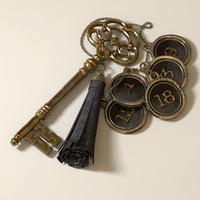 antique skeleton key leather 3D model