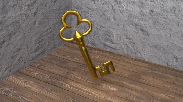 golden skeleton key 3D model