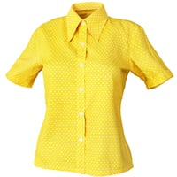 Shirt Yellow Polka Dots Women Clothing
