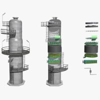 3D model fractional distillation tower