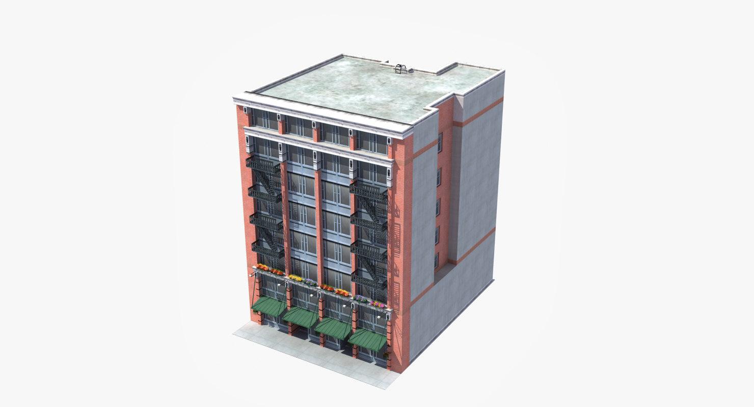3D downtown office apartment building model