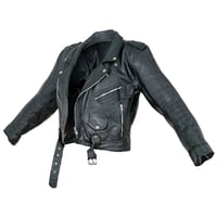 Jacket Moto Black Leather Open Women Men Clothing