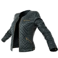 Jacket Black Leather Padded Open Women Clothing