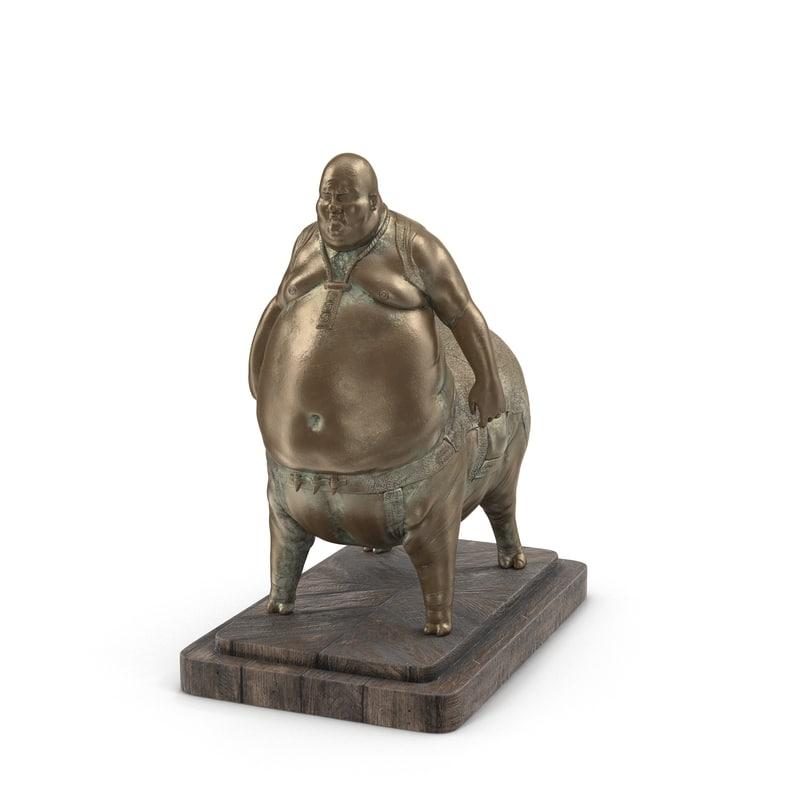 statue pig man 3D model