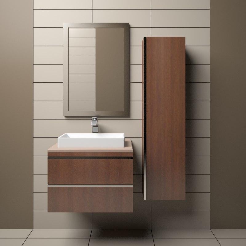 3D model bathroom sink cabinet