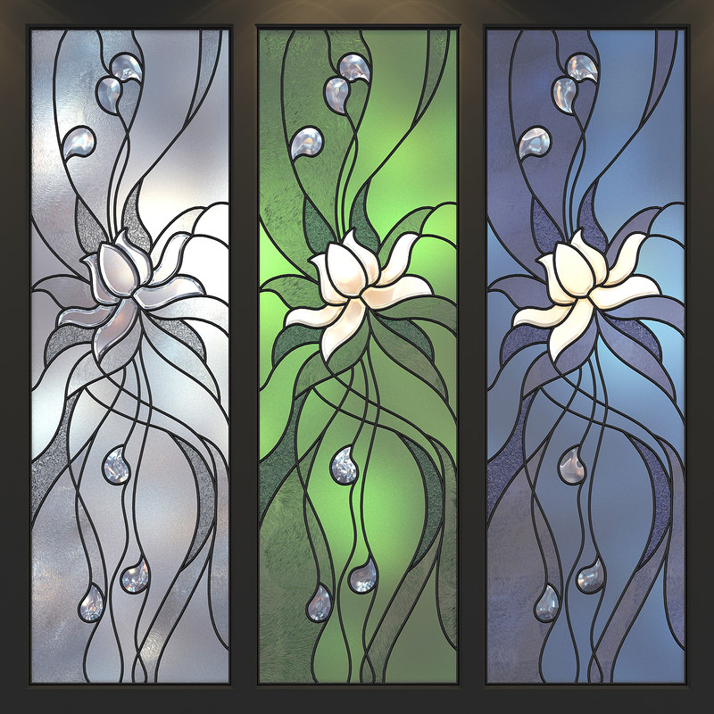 stained glass flower 3D model