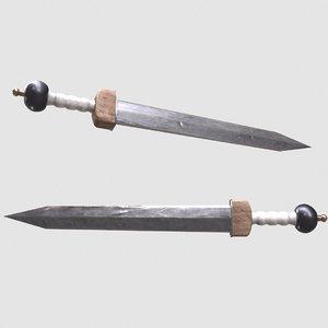 3D sharp roman sword model