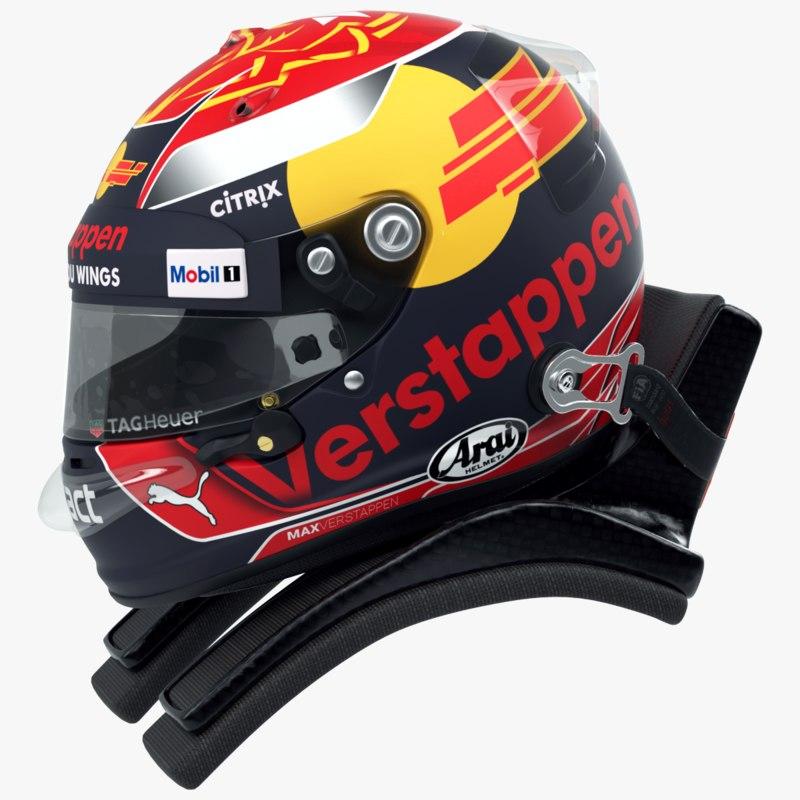 3D model racing helmet verstappen 2017