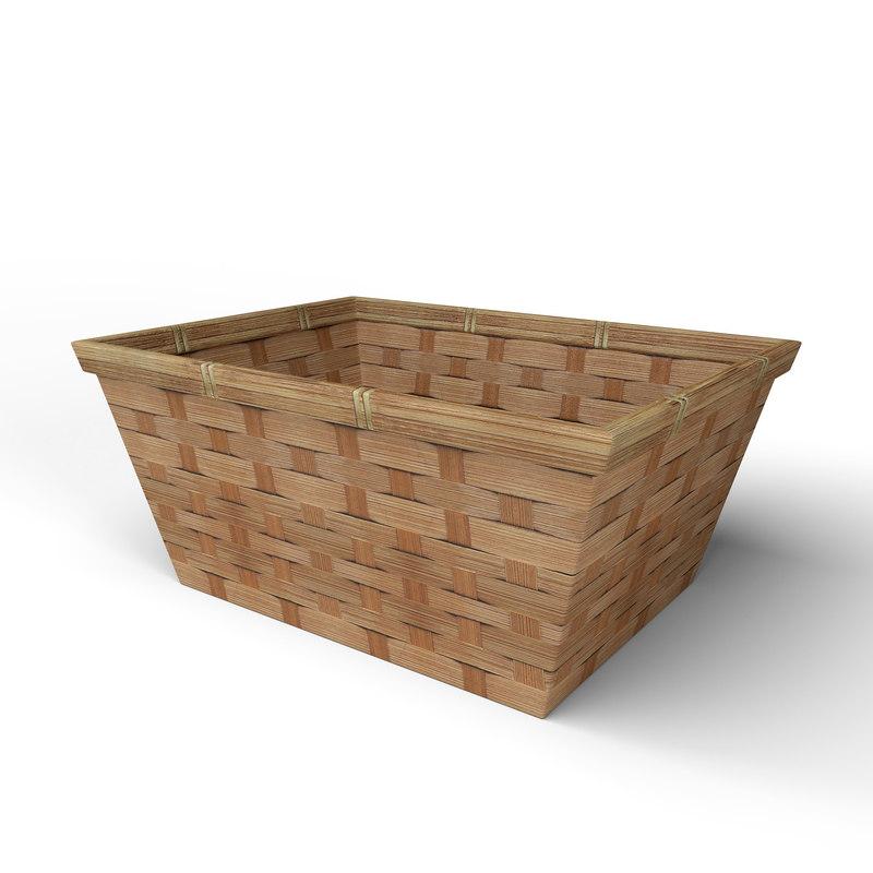 3D wood basket decoration model