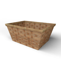 3D wood basket decoration model