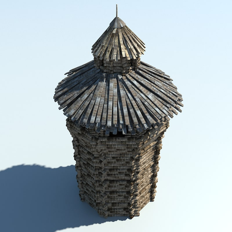 3D historic wood tower