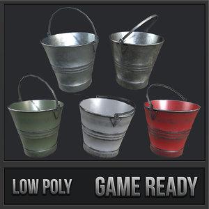 3D steel buckets pbr