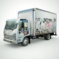 Isuzu NPR with Graffiti lowpoly 3d model