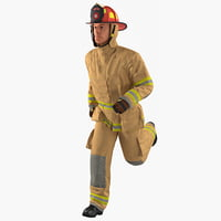 US Firefighter with Fully Protective Suit Rigged 3D Model