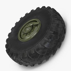 military truck wheel 3D