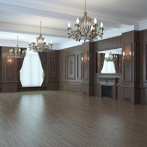 classic interior wood 3D