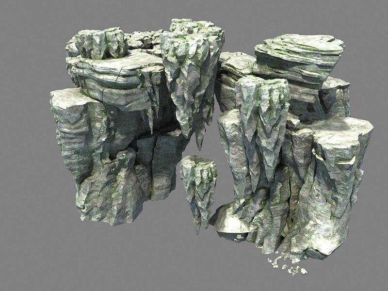 3D stone rocks walls