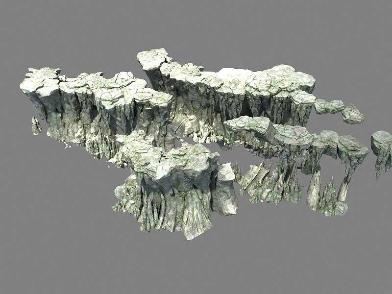 3D model mountain rocks hill