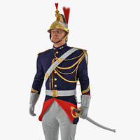 3D french republican guard standing model
