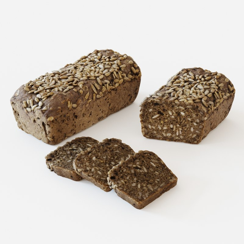 3D realistic seeded bread